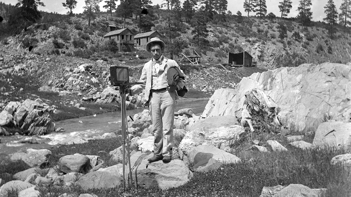 Rex Studio. Photographer or photographer's assistant near Las Vegas, New Mexico, ca. 1910. Palace of the Governors Photo Archives, Negative No. 070835