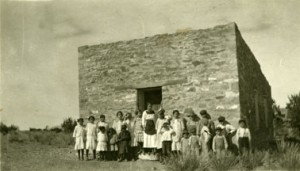 Fabiola Cabeza de Baca in front of New Mexican schoolhouse, photographer and date unknown. Fabiola Cabeza de Baca Gilbert Photograph Collectioon, Center for the Southwest Research, University of New Mexico