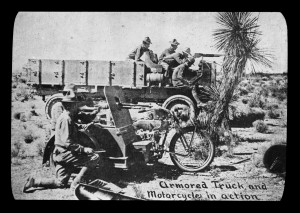 Armored truck and motorcycle in action, Pershing Mexican Expedition, New Mexico, 1916, by W.H. Horne. Palace of the Governors Photo Archives LS.1908. Armored truck and motorcycle in action, Pershing Mexican Expedition, New Mexico, 1916, by W.H. Horne. Palace of the Governors Photo Archives LS.1908.