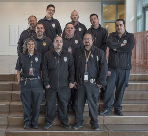 Security officers include (first row, left to right) Tina Salazar, Phillip Montoya, and Orlando Martinez Jr.; (second row_ Sgt. Jason Tapia, Joseph Lujan, and Paul Pacheco; (back row) Marvin Romero, Joshua Montoya, Orlando Martinez St., and David Gallegos.